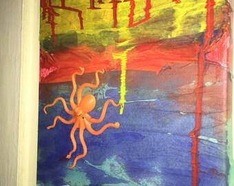 Rectangular mixed media octopus painting