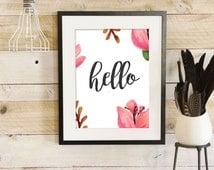 Hello Print, Watercolor Art, Digital Print, Hello Wall Art, Instant Download, Trending Now, Colorful Wall Art, Bedroom Print, Kids Print