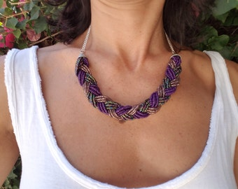 Bold Statement Pieces! Braided Seed Bead Necklaces with Chain and Lobster Clasp