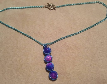 Purple and Blue Beaded Necklace