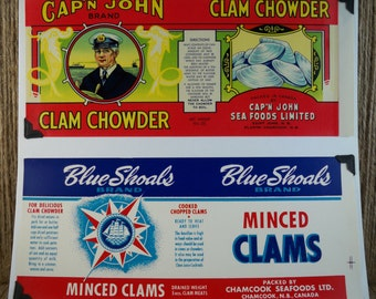 Vintage Can Labels - Cap'n John Clam Chowder, Blue Shoals Minced Clams