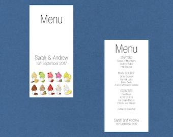 Menu - Cupcake Design - Custom Printed