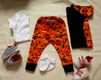 6-9 months pumpkin baby leggings