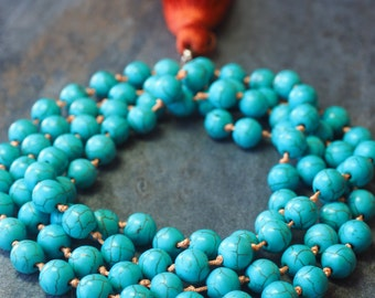 In Howlite turquoise necklace.
