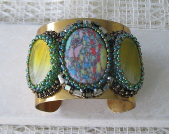 One of a kind bead embroidered cuff