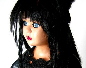 Madame Madeleine Dominatrix OOAK Art Doll - fishnets, leather, whip, spiked heels