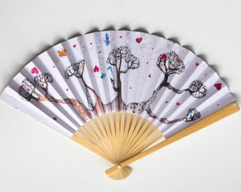 Colourful Hand Fan - Hand painted