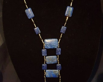Long Lapiz Lazuli Necklace and Earrings