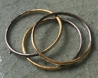 Set of Three Solid 18 Karat Gold and Oxidized Silver Stacking Rings