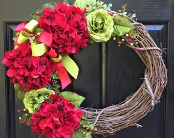 Wreath, Hydrangea Wreath, Summer Wreath, Door Wreath, Grapevine Wreath, Wreath Street Floral, Everyday Wreath, Year Round Wreath
