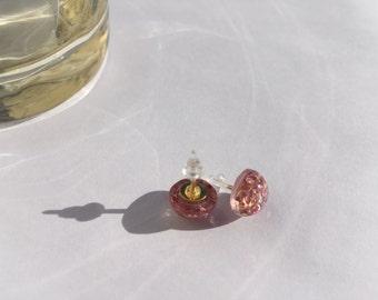Pink Glitter Stud Earrings 10mm