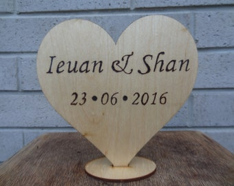 Rustic Wooden Cake Topper Pyrography - Personalised Names and Date