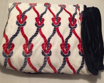 Red and blue nautical blanket