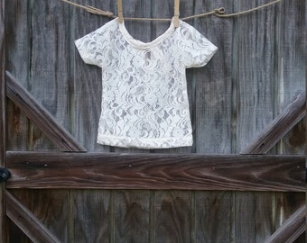 Lace Shirt Top, Girl Lace Top,Ivory Girl Lace Top