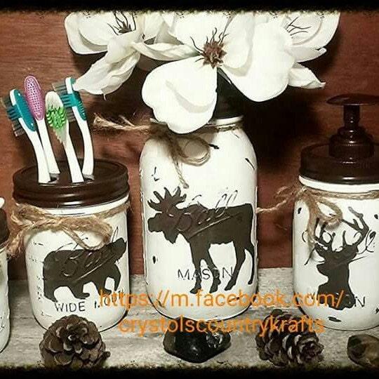 Lodge Themed Bathroom Decor: Deer Bear Moose Bathroom Cabin Lodge Theme. White And
