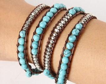 MYC PARIS - Princesa Wrap Bracelet, beads, mineral stones, handmade, links leather
