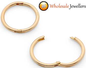 New 375 9ct 9K Yellow Gold Solid Hinged Sleeper Hoop Earrings Australian Made