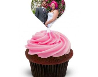 1 x Custom photo laser cut cupcake topper, CHOOSE PHOTO & SHAPE!