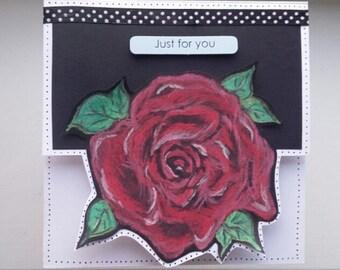 Valentine's rose flower card