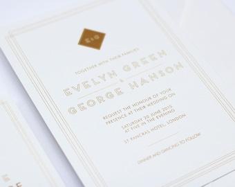 Art Deco 'Evelyn' Wedding Invitation
