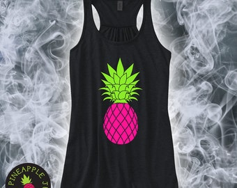 Pineapple Flowy Racerback Tank - Gold Glitter and Neon