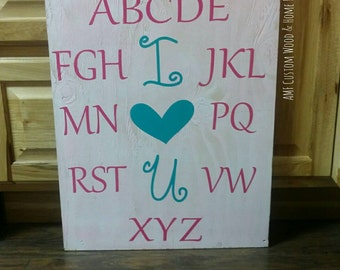 "Alphabet ""I heart U""  wooden sign"
