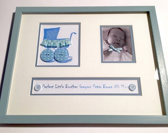 New baby personalised gift picture in handmade bespoke mount and frame. Gift idea, Christening congratulations. Unique personalised for new