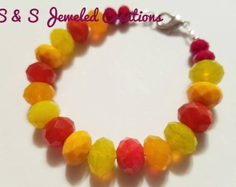 Red, Yellow, Orange Beaded Bracelet