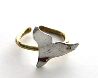 Free Lolita Silver and Brass Tail Fin Ring