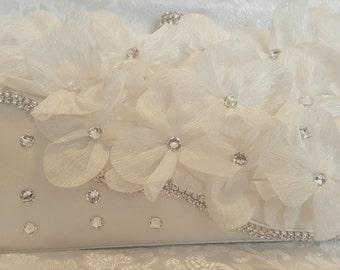 White Satin Swarovski Crystal Embellished Clutch