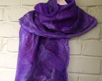 Merino and sill cobweb felt scarf