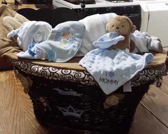 Sleeping Baby Diaper Cake with Fillable Laundry  Basket