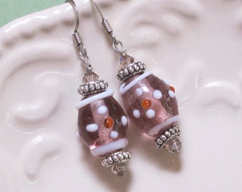 Handmade Lampwork Glass beads, Earrings with Vintage Pink Beads, Pewter spacers, Pink Swarovski crystals