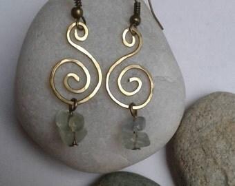 Brass and Fluorite Earrings