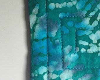 Quilted Fabric Coasters- Teal Batik Set of 4