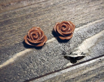 "Flower Cabochons Brown Rose Cabochons 13mm .51"" Opaque Cabochon Flowers For Rings or Earrings Resin Flower Cabochons"