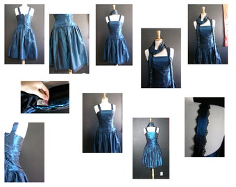 1950s, Blue two tone shimmery dress. XS. Black Lace trim . Pin Up. Retro Rockability!