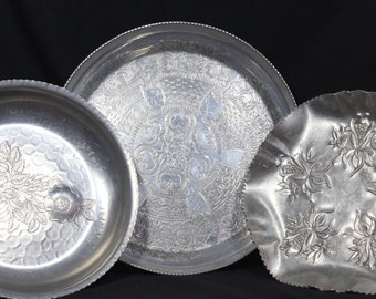 Antique 1940's Hand-Wrought Aluminum Metal Serving Trays