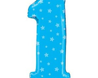 """Number 1 Balloon- 38"""" -Blue First Birthday Balloon- Blue Stars Balloon"""