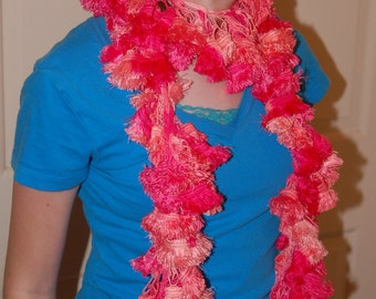 Fuzzy Pink Ruffle Crotched Scarf