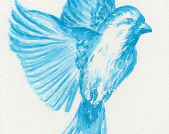Blue Bird Watercolour Print