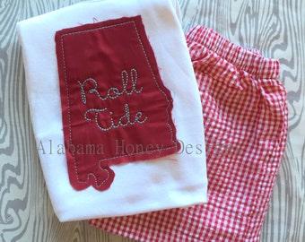 Roll Tide State -Raggy edge Short Sleeve Tee