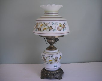 Double Globe Hurricane Electric Light with Flowers  2 Available