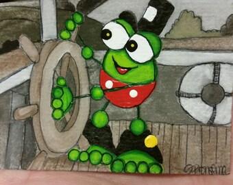 Aceo original Steam Boat Mickey Frog