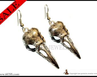 Raven Crow 3D Earrings,Crow Skull Earring,Crow Jewelry,Raven Skull Earring,Bird Skull Earring