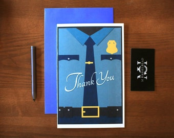 Police Thank You Card - Police Appreciation Card - Blue Lives Matter - Thank you card police Officer Appreciation Officer Thank You Card