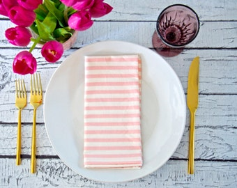 Pink and White Striped Cloth Napkins, Dinner Party, Girls Night or Brunch