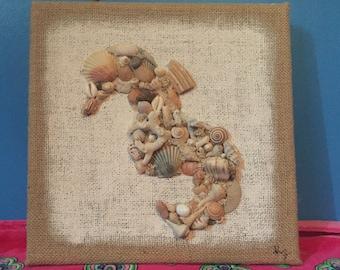 Sea horse sea shell burlap canvas