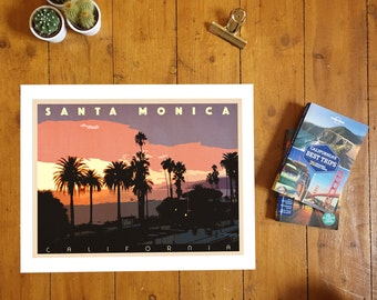 Santa Monica, California. Giclee travel art print
