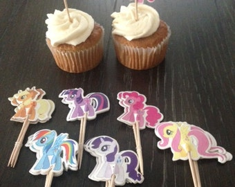 24 My Little Pony Horse Cupcake Toppers Food Picks Birthday Party